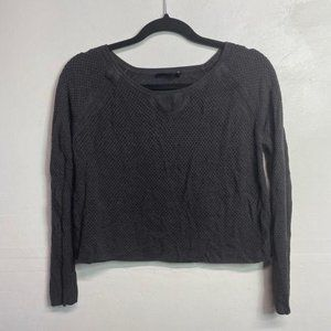 Rag & Bone Knit Grey Perforated Cropped sweater